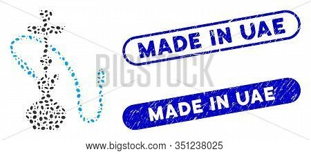 Collage Hookah And Corroded Stamp Seals With Made In Uae Phrase. Mosaic Vector Hookah Is Created Wit