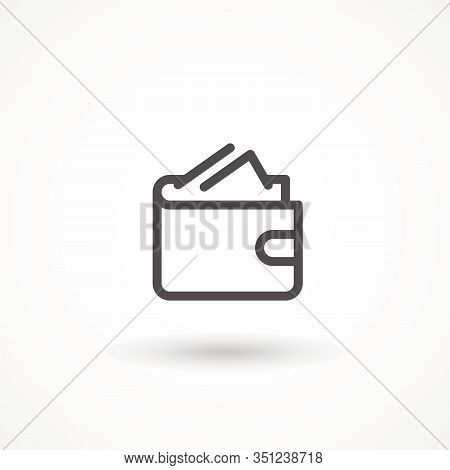 Wallet Line Icon, E Commerce And Marketing, Purse Sign Wallet Icon Isolated On White Background. Lin