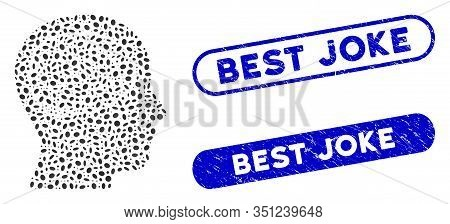 Mosaic Head Brain And Corroded Stamp Seals With Best Joke Phrase. Mosaic Vector Head Brain Is Formed