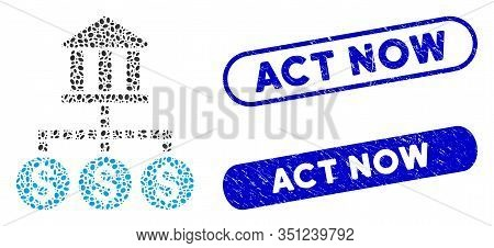 Mosaic Bank Cashout And Corroded Stamp Seals With Act Now Text. Mosaic Vector Bank Cashout Is Create
