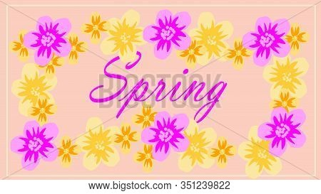 Spring Flower Landscape. Spring Blooming Spring Flowers Against Beige Background. Multi-colored Flow