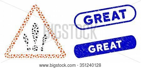 Mosaic Multiple Problems And Rubber Stamp Seals With Great Caption. Mosaic Vector Multiple Problems