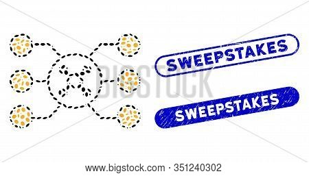 Mosaic Roulette Circuit And Grunge Stamp Watermarks With Sweepstakes Phrase. Mosaic Vector Roulette