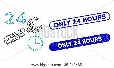 Mosaic Nonstop Service Hours And Rubber Stamp Watermarks With Only 24 Hours Text. Mosaic Vector Nons
