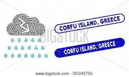 Collage Thunderstorm Rain Cloud And Corroded Stamp Seals With Corfu Island, Greece Text. Mosaic Vect