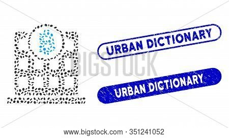 Mosaic Bitcoin Office And Rubber Stamp Seals With Urban Dictionary Text. Mosaic Vector Bitcoin Offic