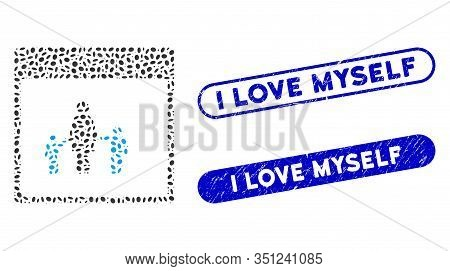 Mosaic Mother Calendar Page And Corroded Stamp Seals With I Love Myself Text. Mosaic Vector Mother C