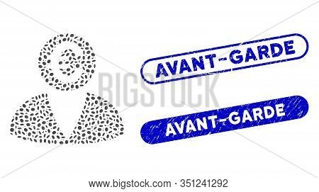 Mosaic Euro Banker And Grunge Stamp Seals With Avant-garde Phrase. Mosaic Vector Euro Banker Is Crea