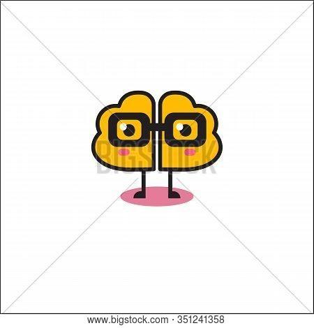 Cartoon Brain In Glasses, Vector Brain Icon