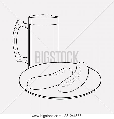 German Beer With Sausage Icon Line Element. Vector Illustration Of German Beer With Sausage Icon Lin