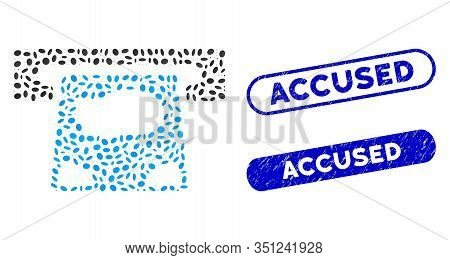 Mosaic Atm Payment And Grunge Stamp Seals With Accused Text. Mosaic Vector Atm Payment Is Composed W