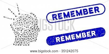 Mosaic Brain Operation And Corroded Stamp Seals With Remember Text. Mosaic Vector Brain Operation Is
