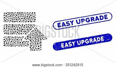 Mosaic Upload Database And Grunge Stamp Seals With Easy Upgrade Text. Mosaic Vector Upload Database