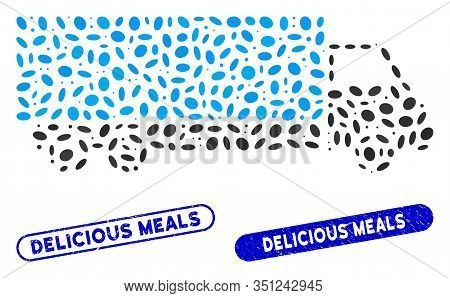 Mosaic Wagon And Distressed Stamp Seals With Delicious Meals Caption. Mosaic Vector Wagon Is Designe