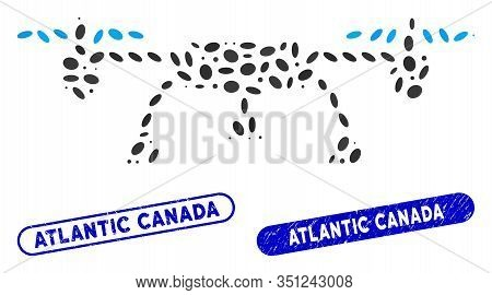 Collage Drone And Corroded Stamp Seals With Atlantic Canada Caption. Mosaic Vector Drone Is Formed W