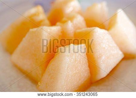 Closeup Slices Of Mouthwatering Orange Muskmelon Cantaloupe