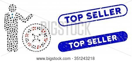Mosaic Roulette Croupier And Rubber Stamp Watermarks With Top Seller Caption. Mosaic Vector Roulette