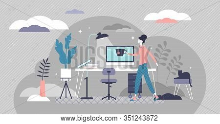 Work From Home Concept, Flat Tiny Person Vector Illustration. Freelancer Remote Office Workplace Int