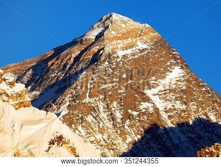 Evening Panoramic View Of Mount Everest With Blue Sky From Gokyo Valley - Everest Area, Khumbu Valle