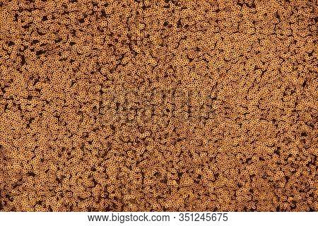 Festive Shiny Background Of Gold Spangles. Shiny Fabric