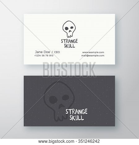 Strange Skull Abstract Vector Sign Or Logo And Business Card Template. Premium Stationary Realistic