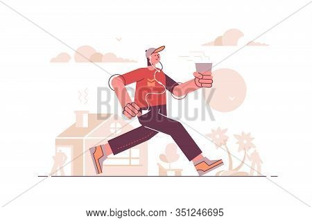 Man Running In Headset And Listening Music