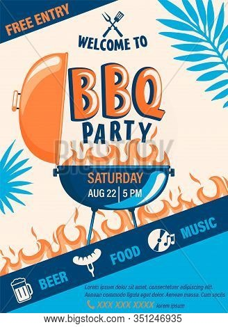 Welcome Bbq Party Flyer.summer Barbecue Weekend Cookout Event With Beer, Food, Music.design Template