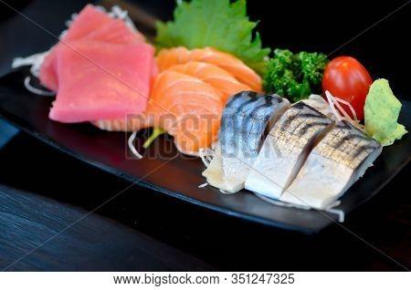 Tuna Sashimi, Sashimi Or Raw Mackerel And Salmon Sashimi