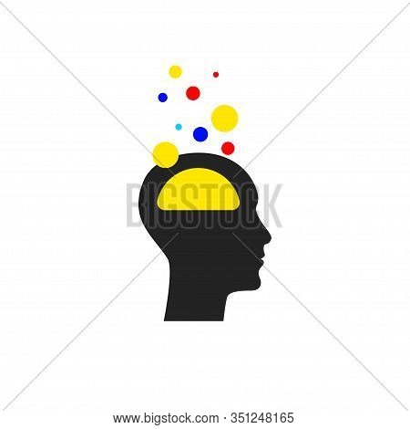 Brain Activity Icon, Profile Of Man, Neurotransmitters Concept