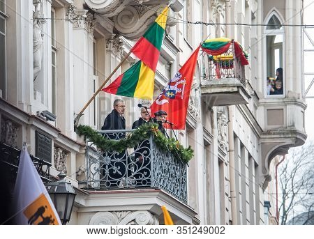 Vilnius, Lithuania - Feb 16, 2020: Vytautas Landsbergis, Lithuanian First Head Of State, Makes A Spe