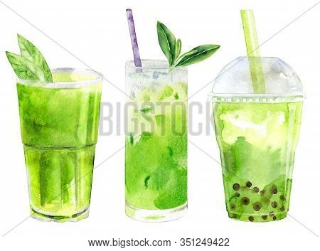 Watercolor Collection Of Matcha Drinks Isolatde On White. Frappe, Smothie, Latte Of Ground Green Tea