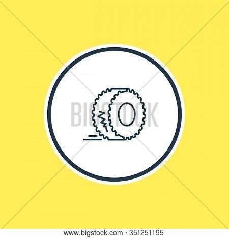 Illustration Of Monster Car Tyre Icon Line. Beautiful Auto Parts Element Also Can Be Used As Truck W