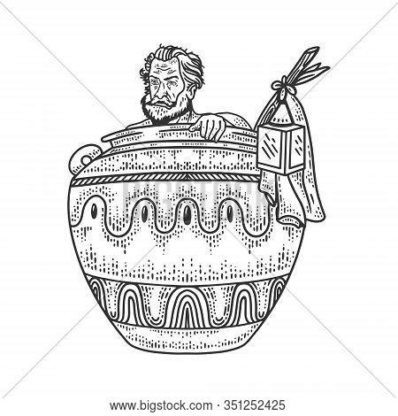Diogenes The Cynic Greek Philosopher Sketch Engraving Vector Illustration. T-shirt Apparel Print Des