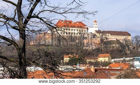 Spilberk Castle In Brno Late Morning With Tree In The Foreground