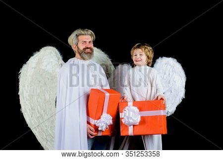 Cute Angel. Valentines Day. Little Angel Boy Gives Father Gift. Happy Father In Angel Costume With L