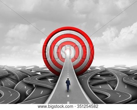 Business Success Goals And Corporate Strategy To Succeed As A Financial Wealth Concept And Pathway T