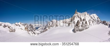 Panorama Of The Snow Covered Glacier On Top Of The Mont Blanc Massif Between Italy And France, The H