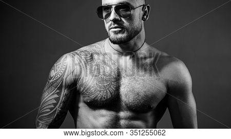 Confident And Handsome Brutal Man. Man Glasses. Stylish Sexy Man Looking Away. Handsome Brutal Man O