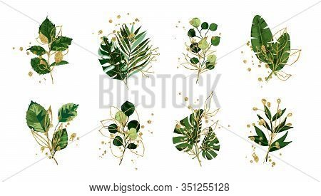 Gold Green Floral Tropical Leaves Wedding Bouquet With Golden Splatters Isolated. Boho Botany Foliag