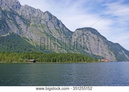 In The Foreground Of The Picture Is The Koenigssee And In The Background You Can See The Grey Rock W