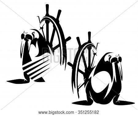 Ship Steering Wheel And Walrus Sea Captain Wearing Striped Sailor Shirt Black And White Vector Desig