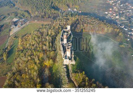 Checiny Castle Near Kielce,aerial Drone Poland
