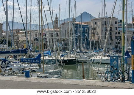 Palermo, Italy - April 01 2007: Moored Yachts In A Marina In Palermo, Italy