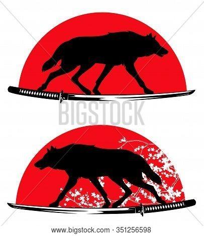 Wild Wolf Running On Samurai Katana Sword Against Red Sun And Sakura Blossom - Bushido Vector Design