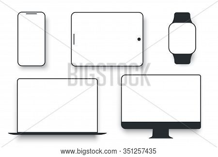 White Desktop Computer Display Screen Smartphone Tablet Portable Notebook Or Laptop. Gadgets Display