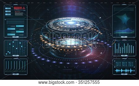 Hud, Ui, Gui . Abstract Virtual Graphic Touch User Interface. Vector Science Abstract. Futuristic Us