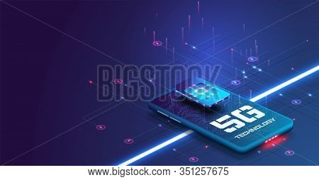 New 5th Generation Of Internet, 5g Network Wireless With High Speed Connection. New Generation Of Wi