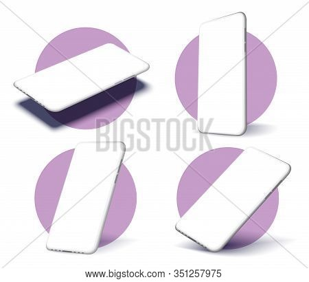 A Collection Of Smartphones At Different Angles. Collection Mobile Phones Isolated On White Backgrou