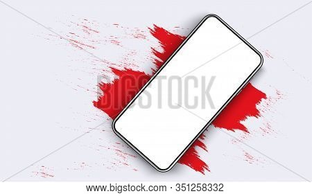 Smartphone Blank Screen, Phone Mockup. The View From The Top Of The Phone On A Red Spot. Template Fo