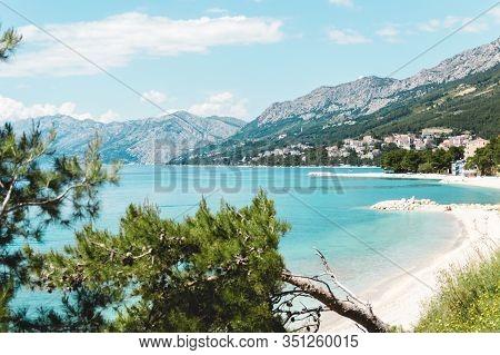 Beautiful View Of Sea And Mountains In Baska Voda, Croatia In Summer